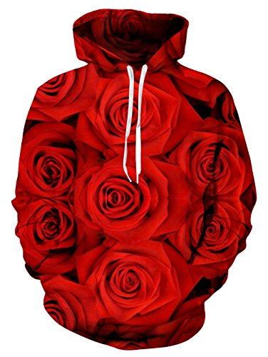 UNIFACO Men Women 3D Printed Pouch Pocket Drawstring Rose Hooded Sweatshirt Hoodies - Rose Sweater Pullover