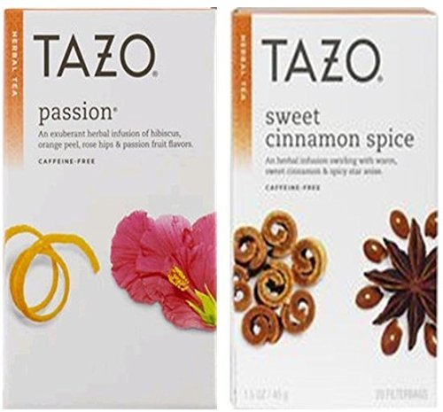 Tazo Sweet Cinnamon Spice Tea and Passion Tea 40 Bags (2 Pack)
