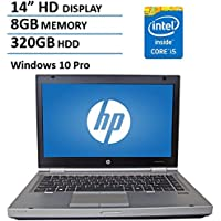 HP 14 HD Elitebook 8470P Business Laptop Computer, Intel Dual Core i5 2.6Ghz Processor, 8GB Memory, 320GB HDD, DVD, VGA, RJ45, Windows 10 Professional (Certified Refurbished)