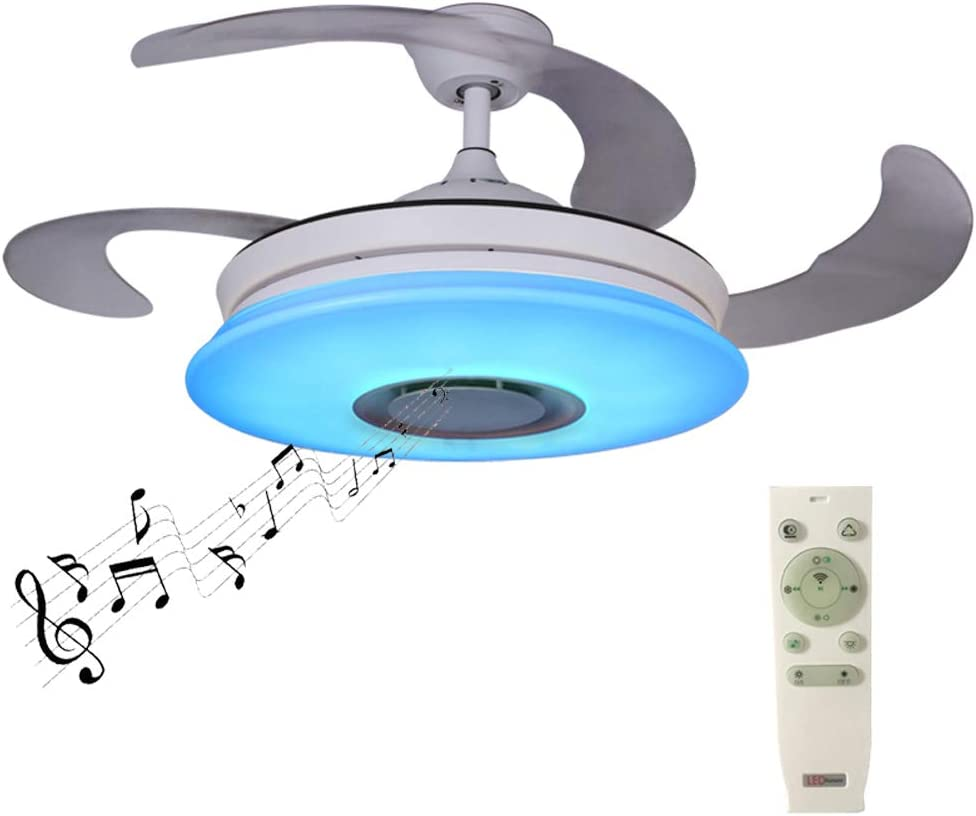 Upgraded ceiling fans with lights and Bluetooth speaker Smart APP 42.5Inch Foldable Chandelier Fan RGB Dimmable 36W Ceiling lamp with remote