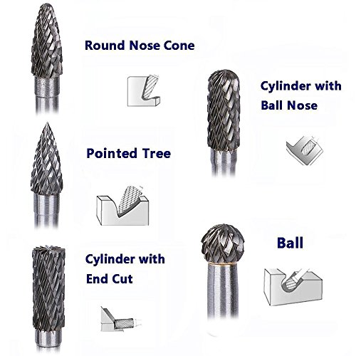 Tonsiki 5 Pieces 8mm Head Tungsten Carbide Rotary Burr Carving Bit Set with 1/4 Inch(6mm) Shank for Rotary Burring Drill Die Grinder by Tonsiki (Image #2)