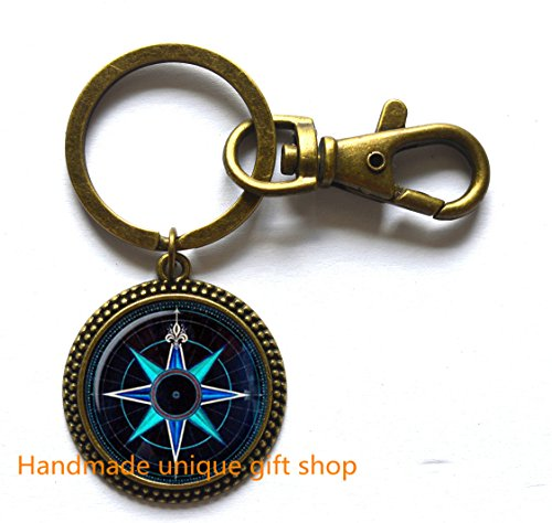 Charming compass Key Ring Wind rose Keychain ART PRINT Steampunk compass Keychain Steampunk compass jewelry for men for her.TD097