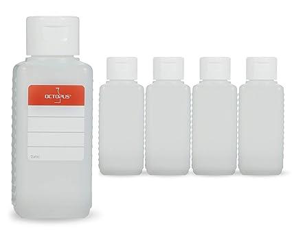 5 botellas de plástico de Octopus de 100 ml, botellas de plástico de HDPE con