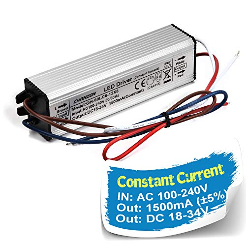 Chanzon LED Driver 1500mA (Constant Current Output) 18V-39V (In:85-277V AC-DC) (6-12) x5 30W 40W 50W 60W IP67 Waterproof High Power Supply 1500 mA Lighting Transformer for 50 W COB Chips (Aluminium)