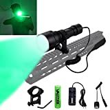 Green Hunting Light 100 Yard CREE Flashlight 6 Hrs Battery Life with Pressure Switch Picatinny Mount for Night Hog Predator Varmint Hunting