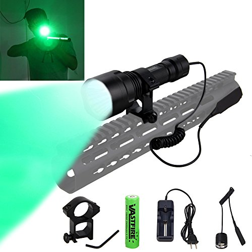 CREE Green Flashlights Hunting Light Hog Lights for AR 15 150 Yards with Pressure Switch and Picatinny Rail Mount Vastfire