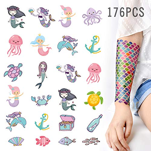 KREATWOW Mermaid Tattoos Temporary for Kids Mermaid Scale Temporary Tattoo -
