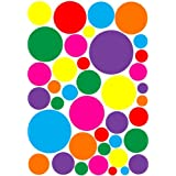 Multicolored Random Sized Rainbow Dot Wall Decals in Hot Pink, Purple, Red, Green, Yellow, Orange and Blue Dot Wall Stickers