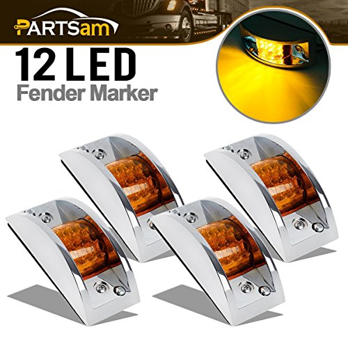 (Partsam 4x Sealed Chrome Armored LED Trailer Clearance and Side Marker Light 12LED Amber)
