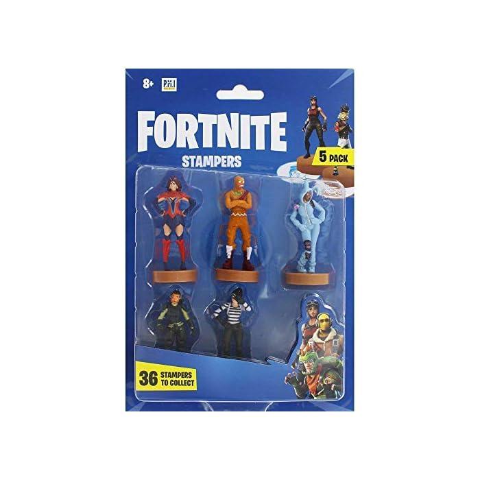 ⚔️ PACK 5 FIGURAS FORTNITE: Cada paquete contiene 5 figuras del famoso videojuego. Todas las figuras han sido diseñadas cuidando cada detalle para obtener un resultado muy realista, incluidas sus armas del juego. Cada figura mide aproximadamente 7.5 cm. ⚔️ 36 ESTAMPADORES PARA COLECCIONAR: Hay 36 mini figuras para coleccionar en selecciones aleatorias de 5. Hemos incluido personajes legendarios y épicos como Fortnite Llama, Battle Bus, Panda, Skull Trooper, Bunny Brawler, Merry Marauder, Pumpkin Head, Love Ranger, Rex, Black Knight, Red Nosed Raider, Cuddle Team Leader, The Rabbit Raider, The Ginger Gunner, The Brite Bomber With Her Unicorn, Rapscallion, Diving Swim Girl, Burnout, Codename ELF, Nog Ops, Crackshot y muchos otros. ⚔️ PRODUCTO OFICIAL DE FORTNITE: Accesorios y productos de Fornite de la tienda oficial de Epic Games. Visite nuestra tienda online para encontrar sudaderas, mochilas y ropa a juego.