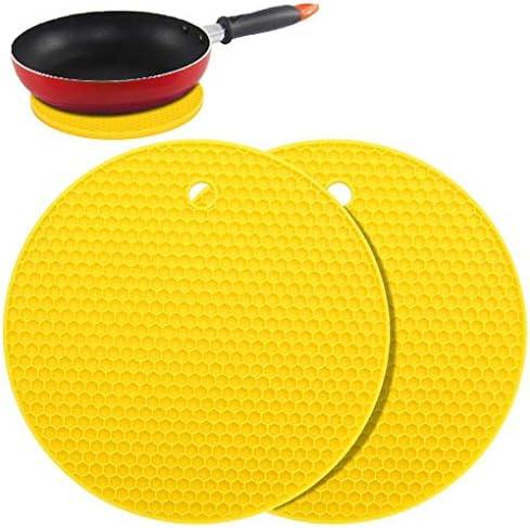 Regard 2 Stück Silikon-Topflappen Multi Runde Fußmatte Gummitopflappen Trivets Glasöffner & Spoon Rests, gelb, wie Gezeigt