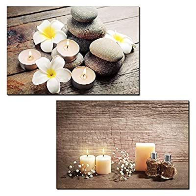 With a Professional Touch, Fascinating Craft, 2 Panel Spa Concept with Zen Stones and Candles x 2 Panels