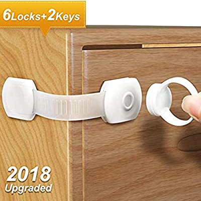 Adoric Upgraded Baby Proofing Cabinet Safety Locks with Magnetic Keys and Adjustable Strap Latch for Child Safety -No Drilling with 3M Adhesive -Ideal for Cabinets, Drawers,Appliances,Toilet,Fridge