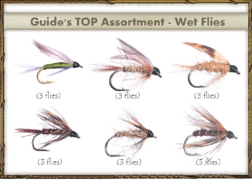 Fly Fishing Flies - Guide's TOP Assortment - WET FLIES (18 flies) - Fishing Soft Hackle Flies