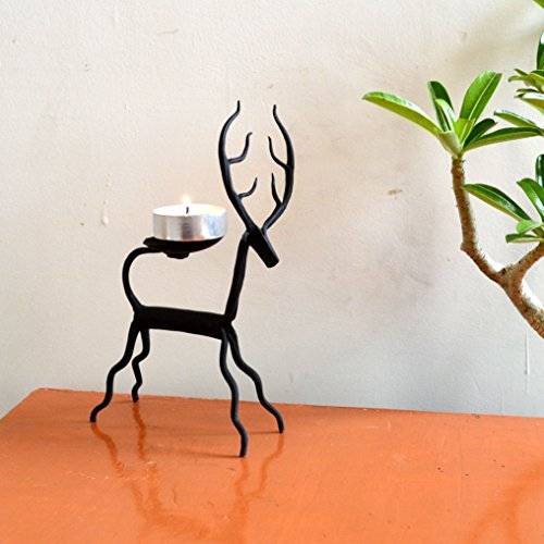 Chinhhari Arts, Indian Decorative Table Decor Deer Candle Stand Wrought Iron Handmade Accents by Chinhhari Arts