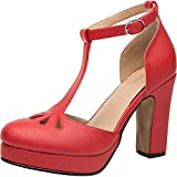 Luoika Women's Wide Width Heel Pump - Ankle Buckle Strap Mid Chunky Block Stacked Heel Close Toe Stilleto Platform Mary-Jean Shoes. (Red PU, 180304,Size 8.5)
