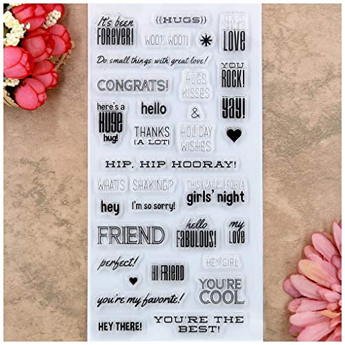 Kwan Crafts Hugs Friend Forever Love You Rock Clear Stamps for Card Making Decoration and DIY Scrapbooking