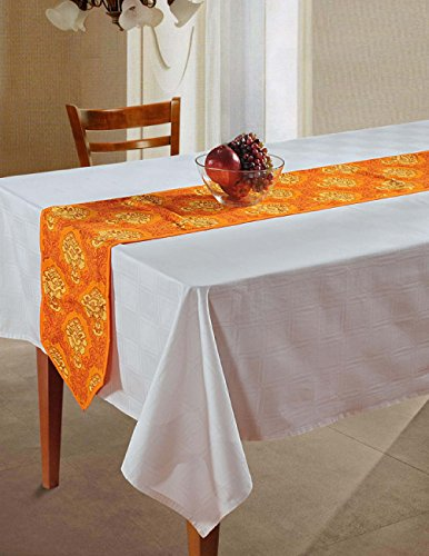 Indian Patterned Duck Cotton Table Runner - 13 x 72 Inches - Red and Yellow Spiral Fireworks (Orange Table Runner compare prices)