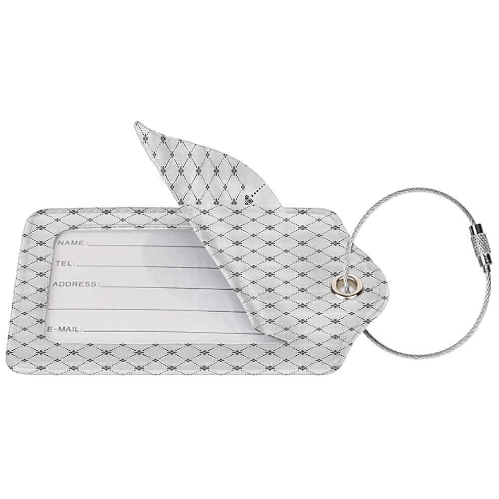 Durable luggage tag Geometric Decor Repeating Dotted Rhombuses and Flowers Modern Stylish Texture Pattern Unisex Grey and White W2.7 x L4.6