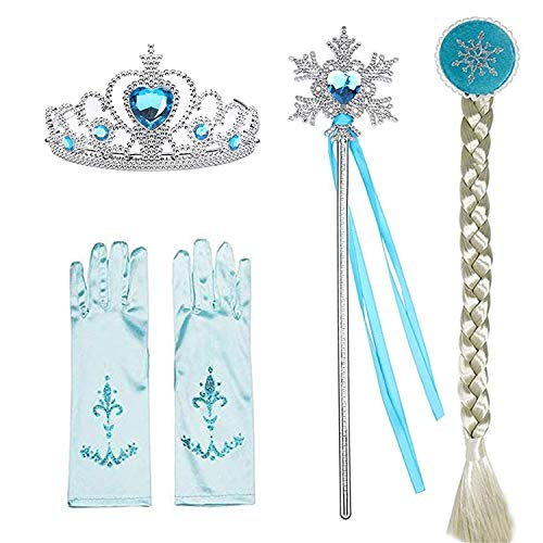 Snow Queen Princess Elsa Costumes Birthday Party Halloween Costume Cosplay Dress up for Little Girls 3-12 Years (Accessories, One -