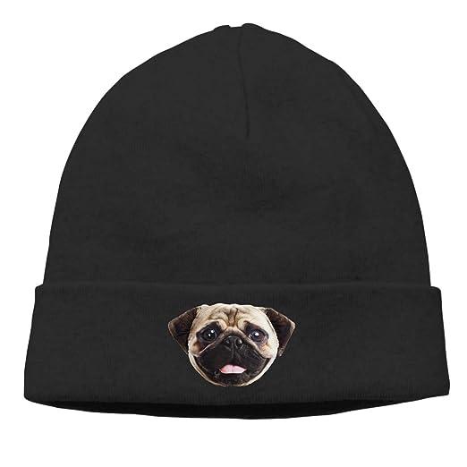 ZGZGZ Pug Dog Face Beanie for Men Women Soft Winter Hats Toboggan Hat Knit  Hat d6ffefda469