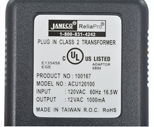 Jameco Reliapro ACU120100D0531 AC to AC Wall Adapter Transformer 12V @ 1000 mA Straight 2.5 mm Female Plug, Black by JAMECO RELIAPRO (Image #1)
