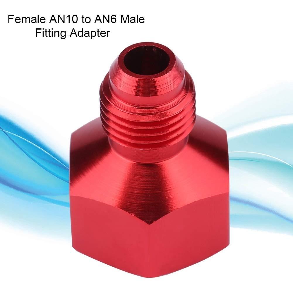 KSTE Kraftstoffleitung Adapter Aluminum Alloy Female AN10 zu AN6 Male Flare Reducer Benzinschlauch /Ölschlauch Fitting Adapter schwarz und rot