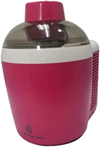 Homemade Ice Cream and Yogurt Maker | Thermo Electric 1.5 Pint | Self-Freezing System | Mix Up Frozen Cocktails or Slushies | Powerful 90W Motor Machine | Assorted Bright Colors (Renewed) (Raspberry)