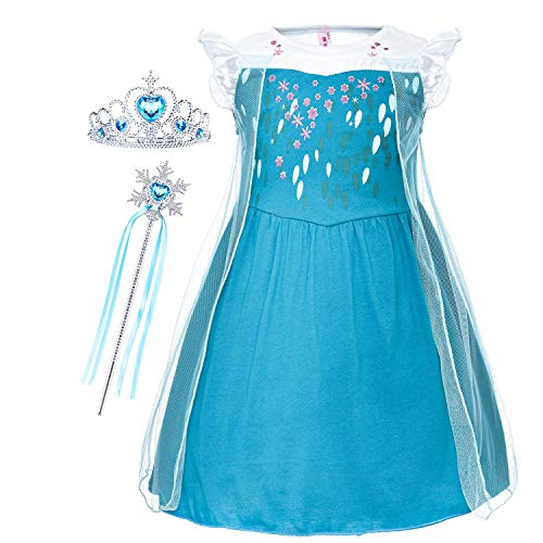 Cmiko Princess Elsa Costume Dresses Dress Up Clothes Skirts for Toddler Girls Cosplay Birthday Party with Accessories Size 2t 3t XS(3) 2-3 Years (Deep Blue) -