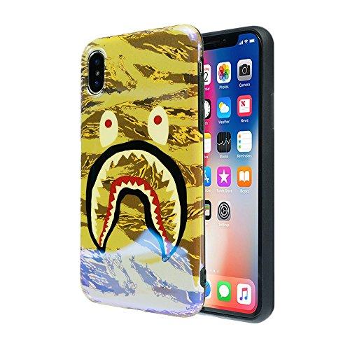 Phone X Light Khaki Shark Face Case: Luxury Durable Designer Womens Protective SOFT TPU Blue-Ray Cover/Bumper/Skin/Cushion with Vivid Print Technology (fits 5.8
