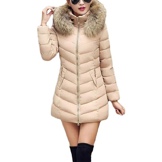 TianBin Ropa Chaqueta de Mujer Color Sólido Invierno Slim Fit Abrigos Largo  con Capucha de Cuello da7a2dbe436f