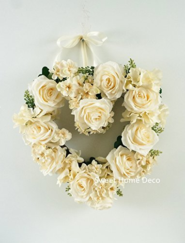 Sweet Home Deco 14''W Silk Rose Hydrangea Heart Wreath for Wedding Home Decoration Door Wreah Wall Decor Valentine's Day Gift (Ivory)