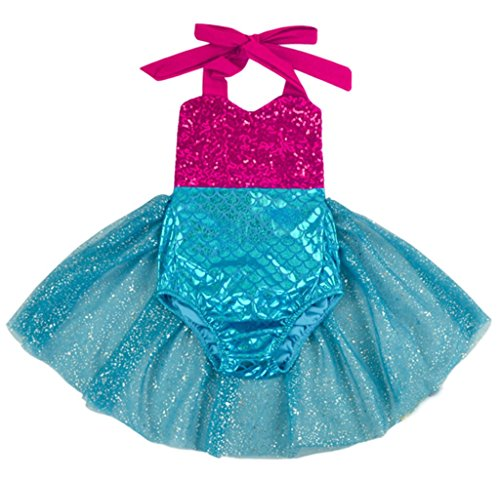 (Carkoo Mermaid Baby Girl One Piece Swimsuits With Tutu Dress (Small,Rose))