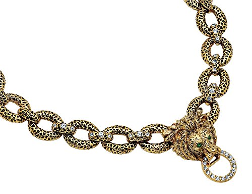 Synthetic Crystal Lion Necklace with 24K Gold Plating (Jacqueline Kennedy - Collection Kennedy Jacqueline