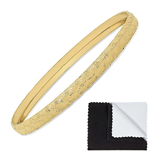 The Bling Factory 6mm Gold Plated Etched Starburst Pattern Bangle Bracelet, Circumference: 7.25