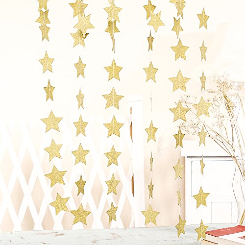 ZOOYOO Glitter Paper Five-pointed Star Garland Dots Hanging Decor, Five-pointed Star Event & Party Supplies,2'' high,10-feet(Gold,2pc) Gold Star Garland