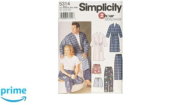 Simplicity 5314 BB - Patrones de costura para pijamas y batas (tallas grandes): Amazon.es: Hogar