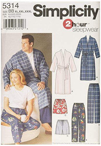 Simplicity 2 Hour Sleepwear Pattern 5314 Women's and Men's Pants or Shorts and Robe Chest Size 52-62 XL-XXL-XXXL (Pants Pajama Sewing)
