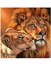 Cross Stitch Stamped Kits Full Range Beginners Starter Embroidery Kits 11CT DIY Handicraft Needlepoint for Kids and Adults Kissing Lion 16x20inch