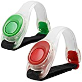 2pcs/pack maxin LED Light Bright Armband, Silicone Reflective Running Gear,LED Bracelet Glow in the Dark- Safety Slap Band for Cycling Runing,Jogging High Visibility. (Green and Red)