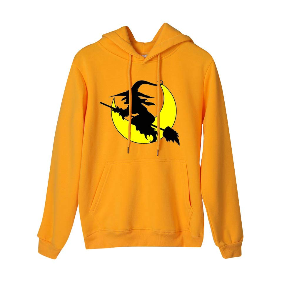 Women's Halloween Witch Moon Pattern Print Long Sleeve Hooded Sweatshirts Casual Pullover Tops (Yellow,L) by TozuoyouZ