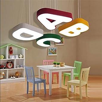 BRILIFE Pendelleuchten Für Flur Interessanter Novel Kreativen Reizenden  Abcd Design 4 Farben Eisen Acryl