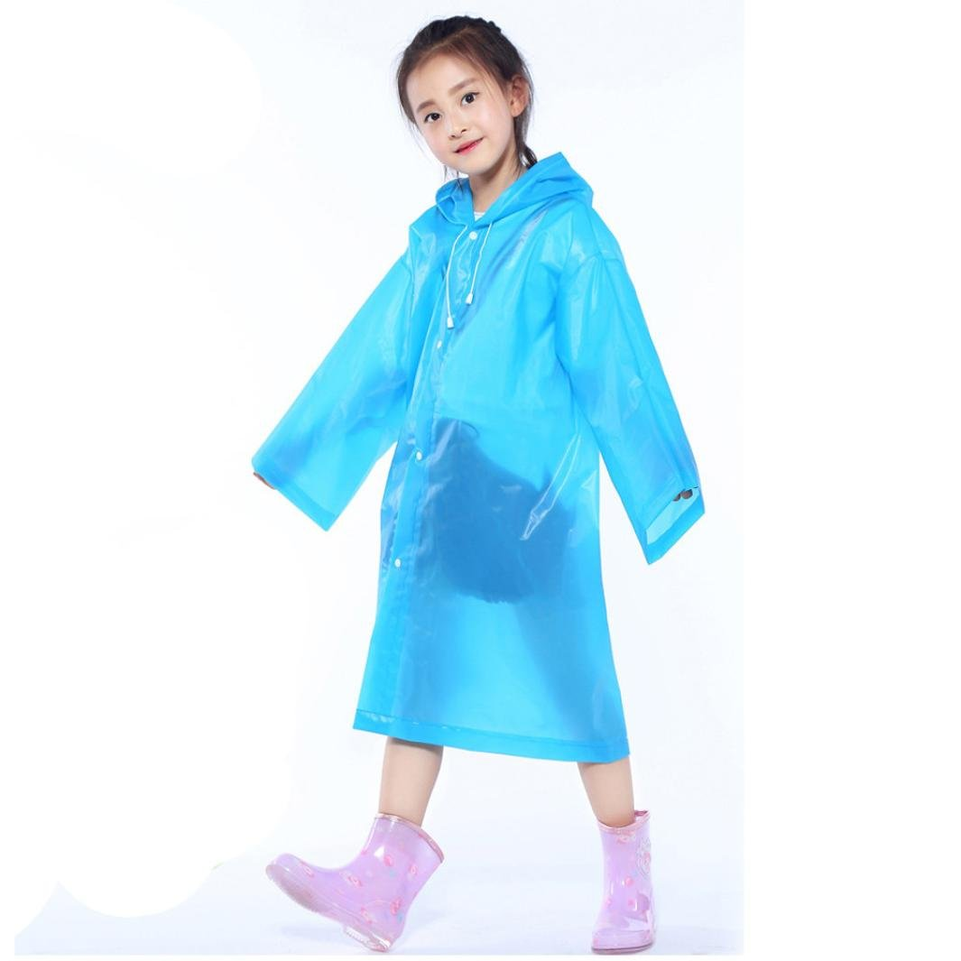Tpingfe Portable Reusable Raincoats Children Rain Ponchos For 6-12 Years Old, 1PC (Blue)