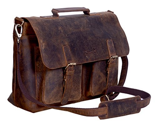 KomalC Leather Briefcase 15 Inch Retro Buffalo Hunter Leather Laptop Messenger Bag Office Briefcase College Bag Fits Upto 15.6 Inch Laptop (Distressed Tan) - Hand Signed Buffalo