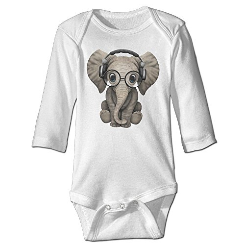 [Baby Bodysuit Cute Baby Elephant Dj Wearing Headphones And Glasses One Piece Baby Long Sleeve Unisex Jumpsuit 12 Months White] (Baby Wearing Elephant Costume)