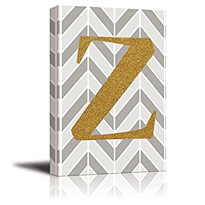 Stunning Technique, Quality Artwork, The Letter Z in Gold Leaf Effect on Geometric Background Hip Young Art Decor
