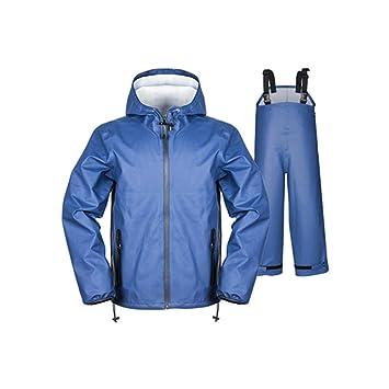 b9e46bb2652265 JXJJD Regenmantel Regenhosenanzug Herren Dicker, wasserdichter Regenmantel  Split Regenjacke für Erwachsene (schwarz, blau