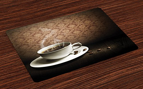 Lunarable Coffee Place Mats Set of 4, Cup of Hot Coffee on Wooden Table Damask Pattern on Wall Romantic Vintage Artwork, Washable Fabric Placemats for Dining Room Kitchen Table Decoration, Brown White