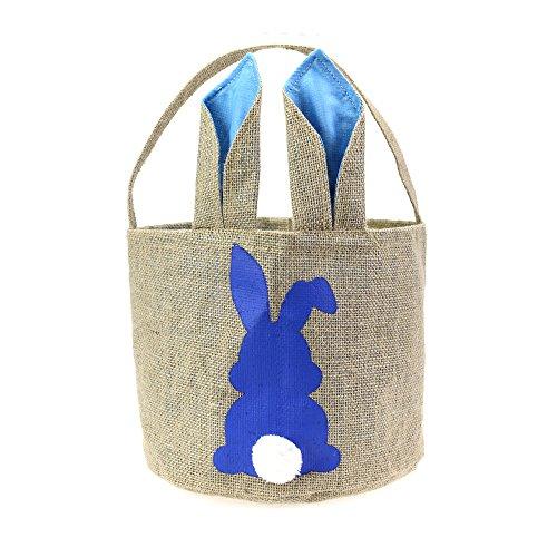 Easter Basket for Kids Bunny Bag for Easter Hunt,100% Ear Stand Up(B-Rabbit-Blue)]()