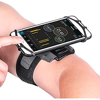 VUP Running Armband for iPhone Xs Max/XS/XR/X/6S/7/8 Plus, Galaxy S10/S9 Plus/S8/ Note 9/8/J7, LG G6/V30, Google Pixel 3/2 XL, 180 Rotatable Cell Phone Holder Arm Band for Gym Workout (Black)